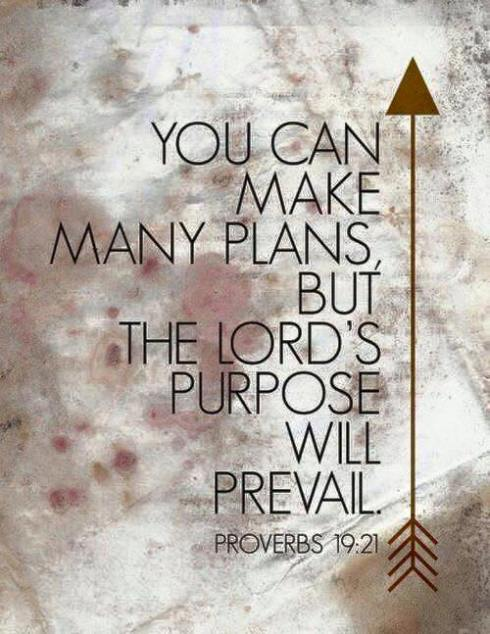 You can make many plans, but the Lord's purpose will prevail